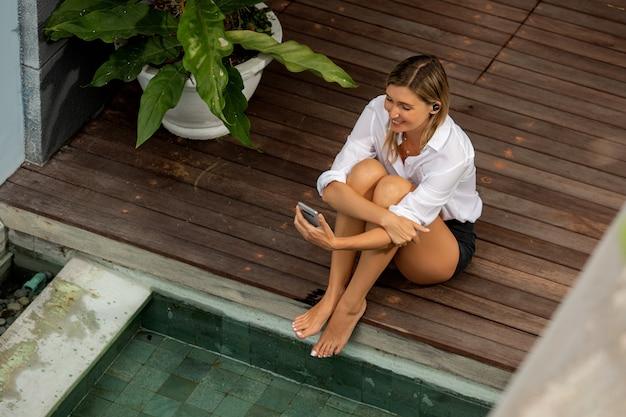 Beautiful girl talking on the phone.