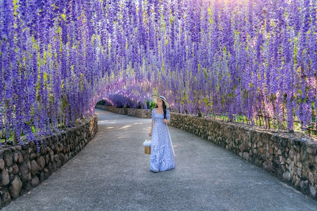 Beautiful girl walking at purple flower tunnel in chiang rai, thailand