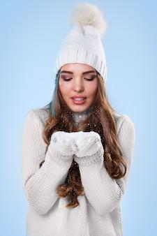Beautiful girl in white sweater