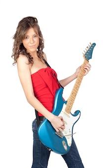 흰색 배경에 고립 된 전기 기타와 함께 아름 다운 소녀