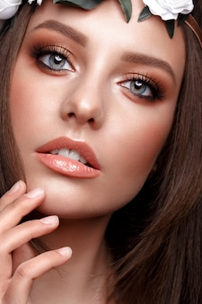 Beautiful girl with classic make up