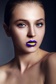 Beautiful girl with duotone lips