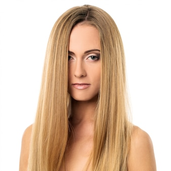 Beautiful girl with straight hair