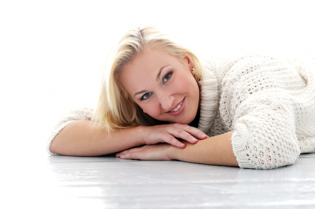 Beautiful girl with sweater have really wide smile