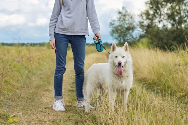 Beautiful girl with white dog, teenager walking with husky pet