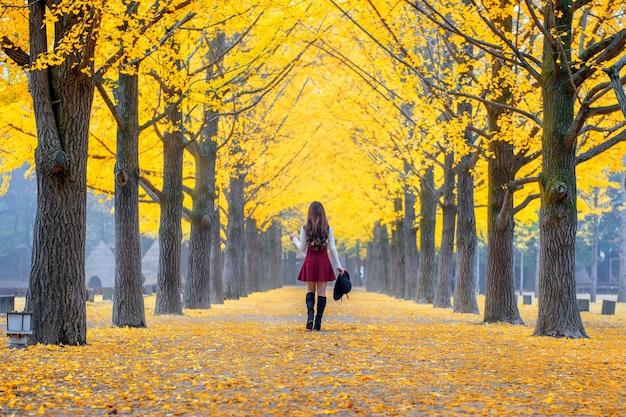 Bella ragazza con foglie gialle a nami island, corea.
