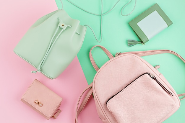 Beautiful girls bag in pastel mint color and pink backpack