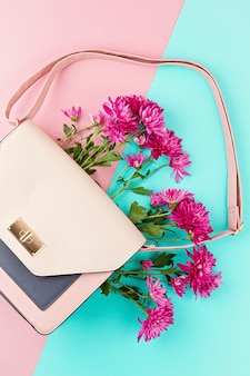 Beautiful girls bag with flowers. female urban fashion, shopping, gfit ideas, spring and summer style