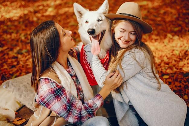 Beautiful girls have fun in a autumn park
