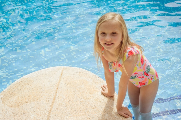 Beautiful girls at swimming pool in summer time