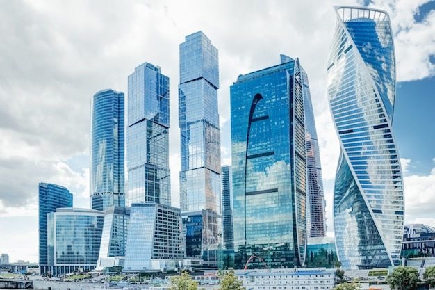 Beautiful glass skyscrapers of moscow