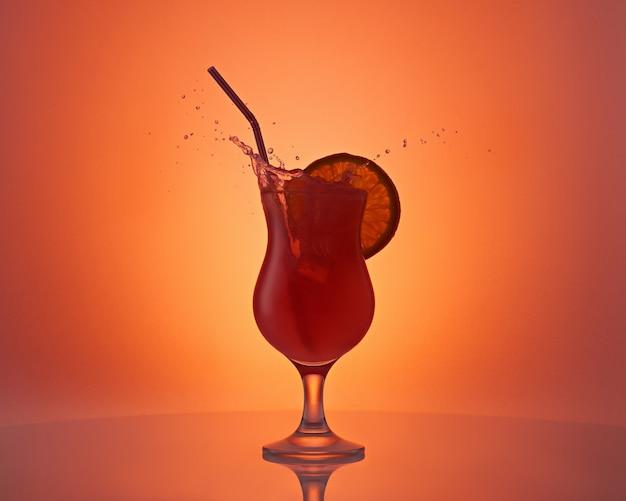 Красивый бокал с апельсиновым коктейлем, ломтик апельсина и брызги на оранжевом фоне