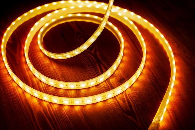 Beautiful glowing led strip of warm light for mounting decorative lighting for homes