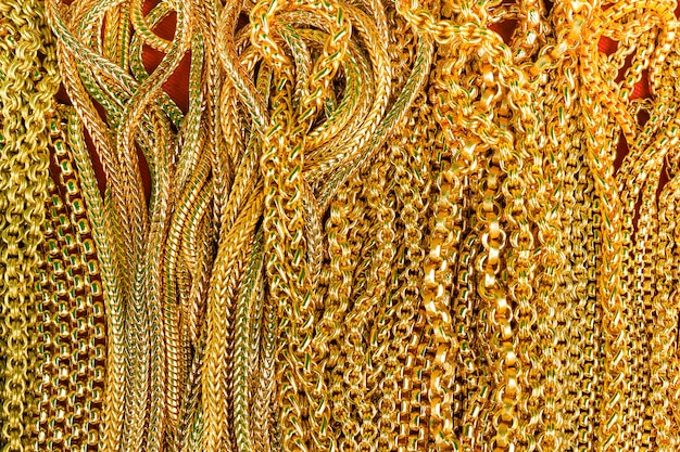 Beautiful gold necklace texture for background, closeup
