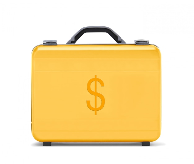 Beautiful golden briefcase representing dollar money and business