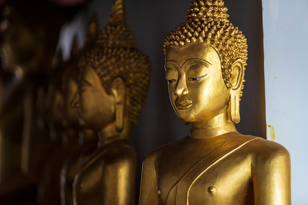 Beautiful golden buddha statues at buddhist temple