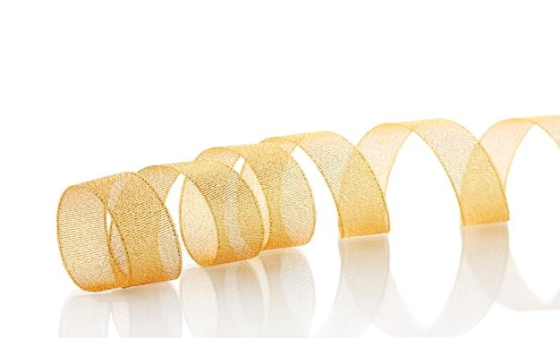 白で隔離の美しい金色のリボン