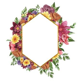 Красивая золотая акварель цветочная рамка
