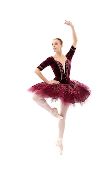Beautiful and gorgeous ballerina in ballete pose