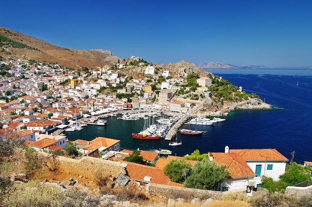 아름다운 그리스 섬-히드라의 파노라마, 그리스의 saronic 금