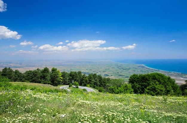 美しいギリシャの風景のパノラマ