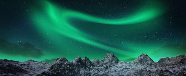 A beautiful green aurora dancing over the hills.