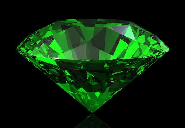 어둠에 아름다운 녹색 에메랄드