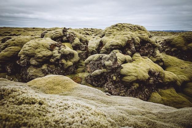 美しい緑の丘とアイスランドのフィールド