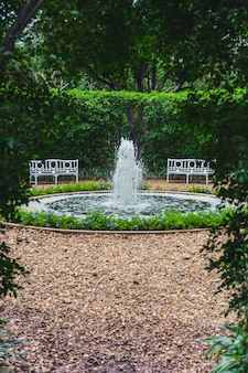 Beautiful green park garden with small fountain and bench