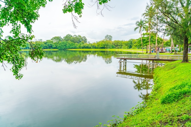Beautiful green park with lake , ang kaew at chiang mai universi