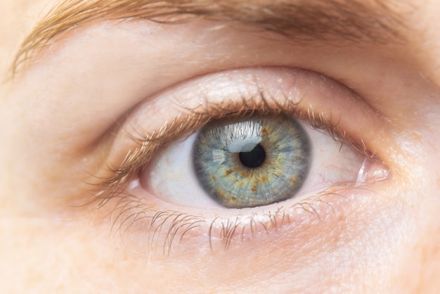 Beautiful green woman eye close up.