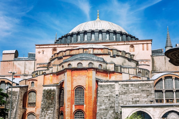 Beautiful hagia sophia cathedral on a sunny day against the backdrop of a bright blue sky in istanbul. close-up.