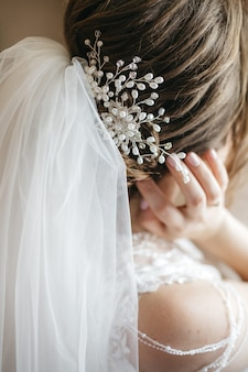 Beautiful hairstyle bride on the wedding day
