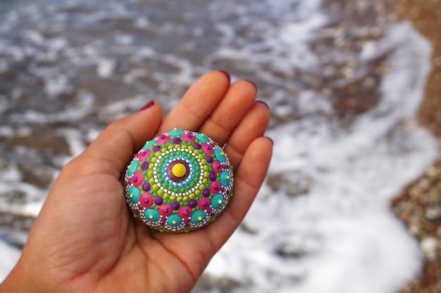 Beautiful hand painted mandala rock