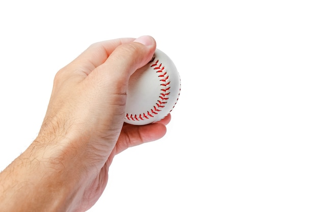 Beautiful in the hands of a baseball on a white surface myach
