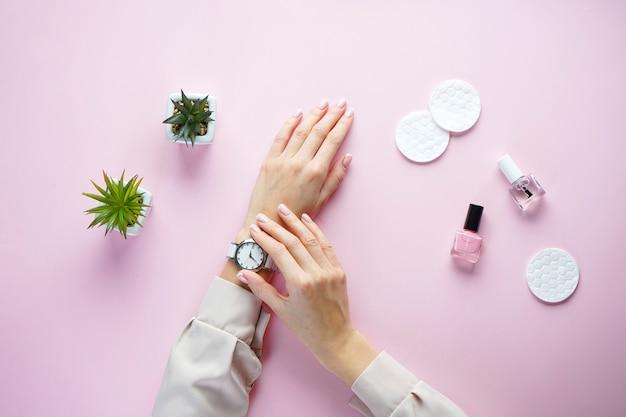 Succulents와 분홍색 배경에 아름 다운 매니큐어와 젊은 여자의 아름 다운 손. 프랑스 매니큐어 플랫 누워.