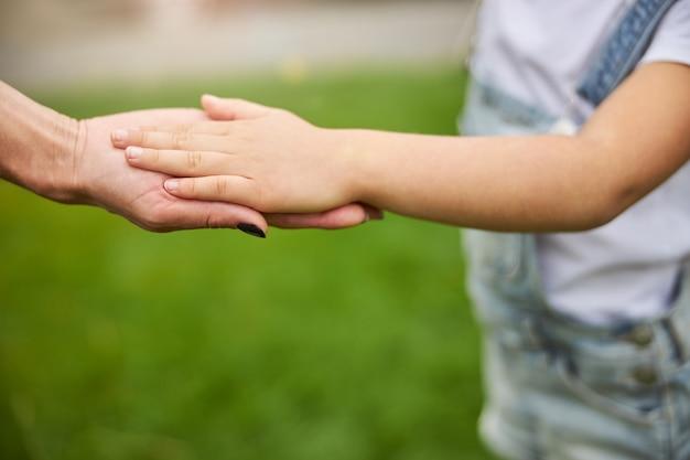 함께 푸른 잔디에 고립 된 여자와 젊은 여자 아이의 아름 다운 손