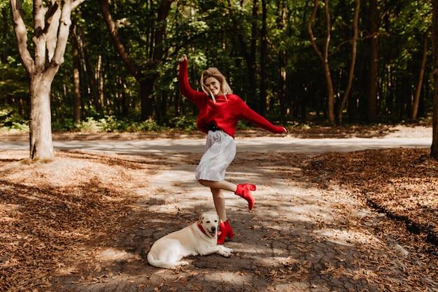 公園で彼女のラブラドールと素晴らしい時間を楽しんでいる赤いセーターの美しい幸せなブロンド。落ちた黄色の葉の間でポーズをとって暖かい服を着たスタイリッシュな女の子。
