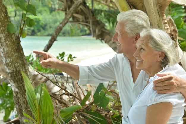 아름다운 행복한 노인 부부는 열대 리조트에서 휴식을 취하고 손으로 가리키는 남자