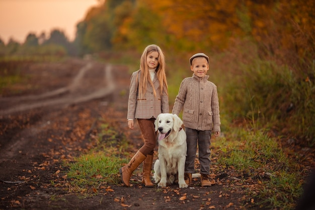 Beautiful happy kids brother and sister are walking their pet dog retriever