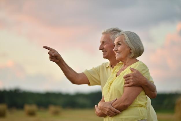 일몰의 여름 들판에서 아름다운 행복한 노부부, 손으로 가리키는 남자