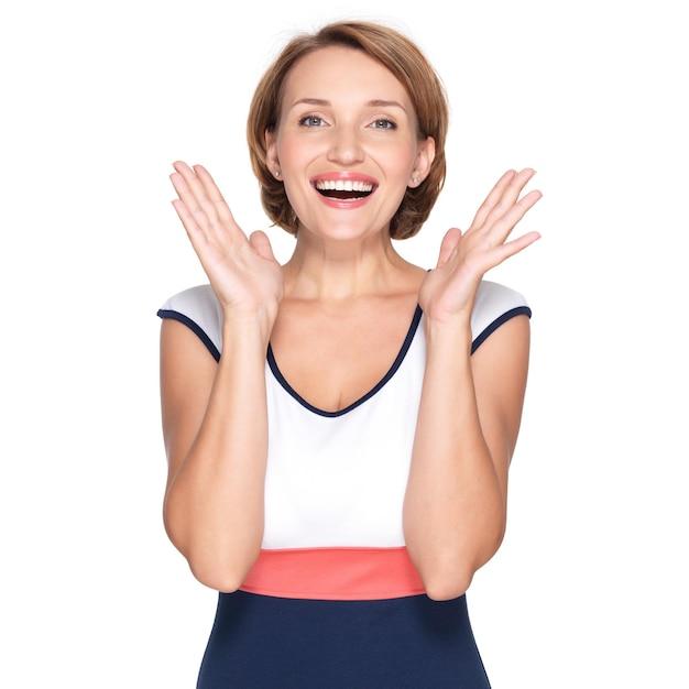 긍정적 인 감정 벽을 가진 아름 다운 행복 한 놀된 여자