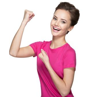 Ð¸ðºñˆð¿ñ€ðµ表現で勝者であることの成功を祝う美しい幸せな女性-孤立