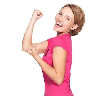Ð¸ðºñˆð¿ñ€ðµ表現で勝者であることの成功を祝う美しい幸せな女性-