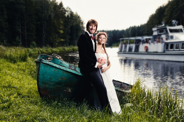 Beautiful happy young bride and groom
