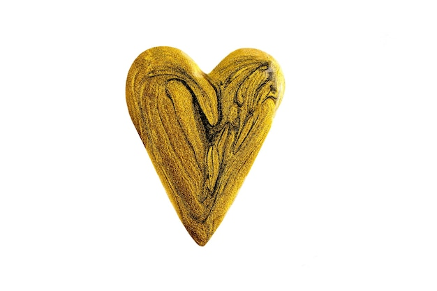 Beautiful heart madefrom liquid nail polish.osmetics banner isolated on white.fluid art technique.gold marble love background.