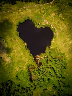 Beautiful heart-shaped lake