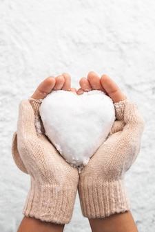 Beautiful heart shaped snowball
