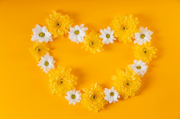 Beautiful heart shaped spring flowers composition