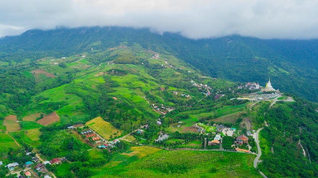 Beautiful hills village under the sea of clouds in thailand.